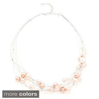 Alexa Starr Multi-row Wire Glass Pearl and Lucite Illusion Necklace