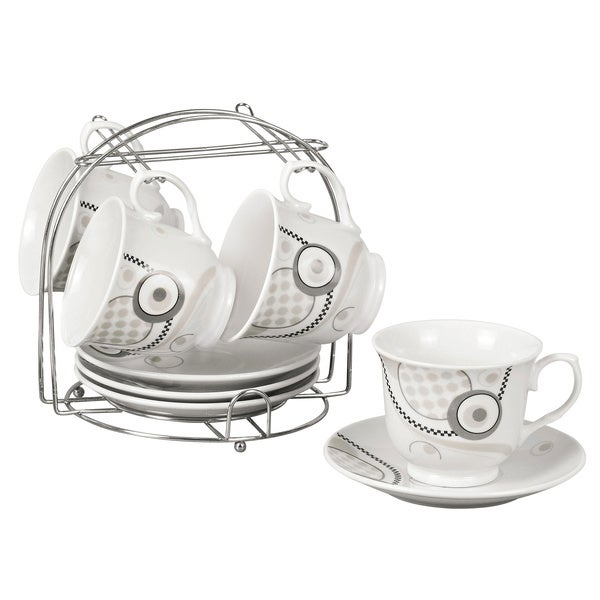 Grey Abstract Porcelain 9-piece Tea/ Coffee Set on Stand 12421830