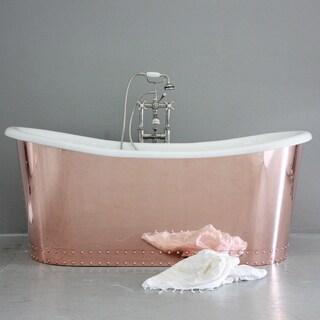 'The Woburn' 73-inch Copper/ Cast Iron French Bateau Bathtub