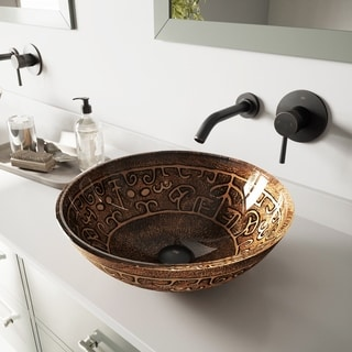 Golden Greek Glass Antique Rubbed Bronze Vessel Sink and Olus Wall Mount Faucet Set