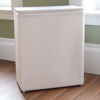 White Basketweave Upright Hamper