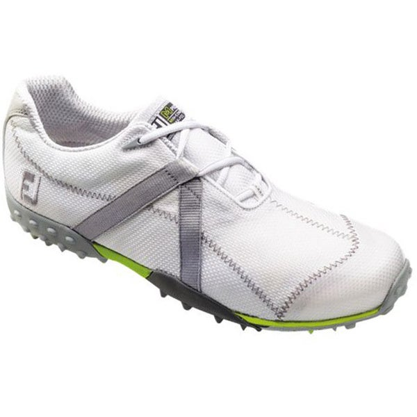 Footjoy Mens M-Project White Mesh Grey Stripe Spikeless Golf shoes