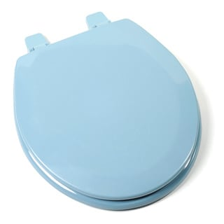 Deluxe Molded Wood Round Regency Blue Toilet Seat