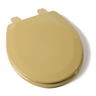 Deluxe Molded Wood Round Harvest Gold Toilet Seat