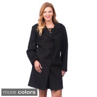Larry Levine Women's Plus Size Classic Wool Blend Coat