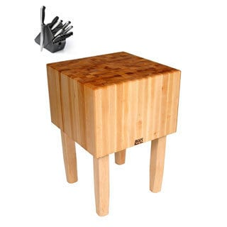 John Boos AA01 Butcher Block 24x18x34 Table with Henckels 13 Piece Knife Block Set