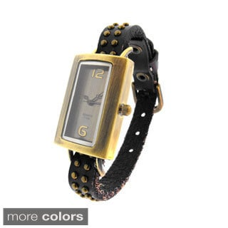 Moise Women's Leather Studded Strap Watch