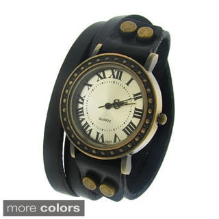 Moise Women's Black Strap Bronze Dial Watch