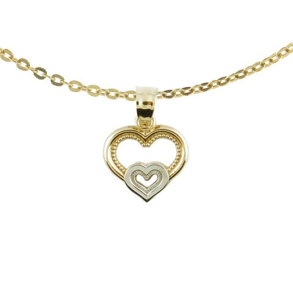 10k Two Tone Gold Open Double Heart Charm