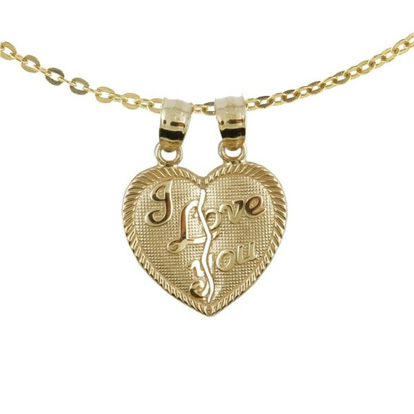 10k Yellow Gold Fashionable 'I Love You' Breakable Heart Charm Necklace