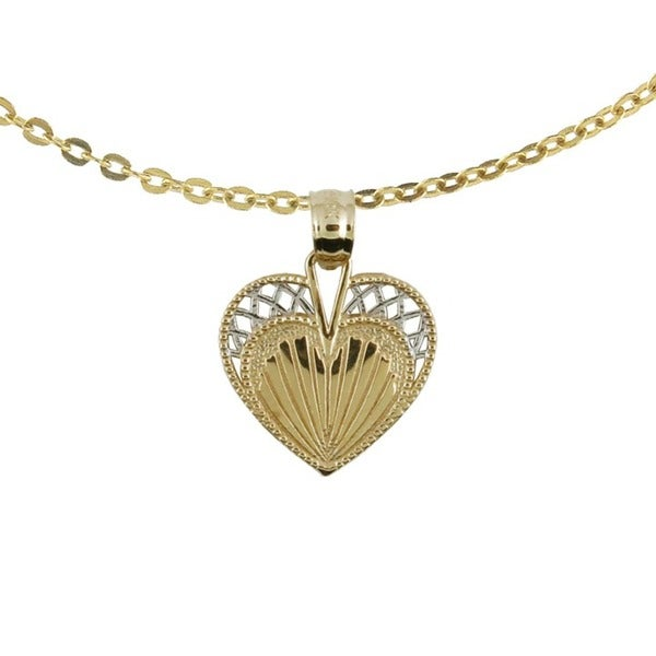 10k Two-tone Gold Closed Heart Clamshell Charm with 10k Chain Necklace