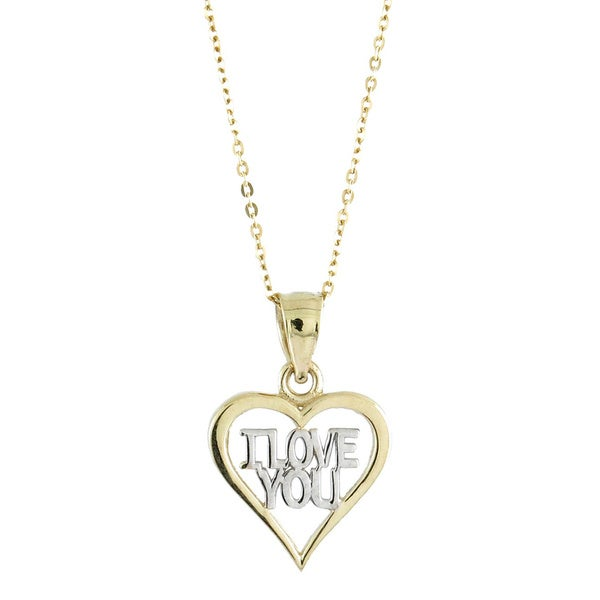 "10k Two-tone Gold Open ""I Love You"" Charm Necklace with 10k Gold Chain"