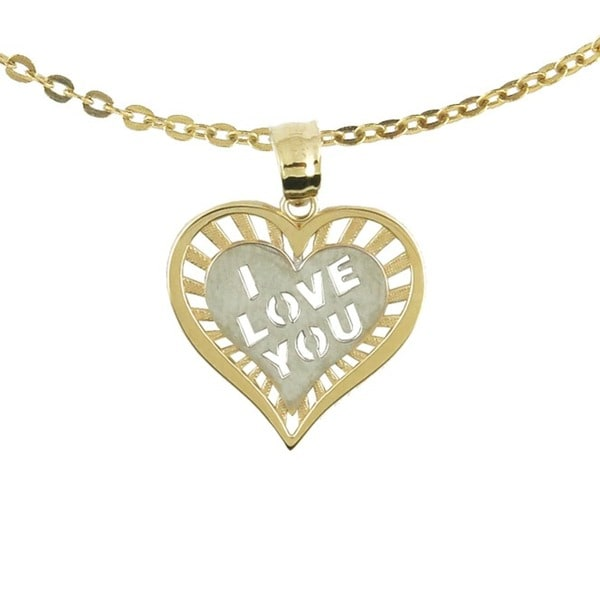 10k Two-tone Gold 'I Love You' Charm Necklace with 10k Gold Chain
