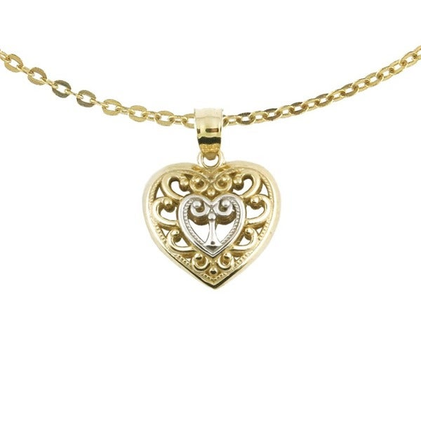 10k Two-tone Fashionable Gold Scroll Heart Charm with Chain Necklace