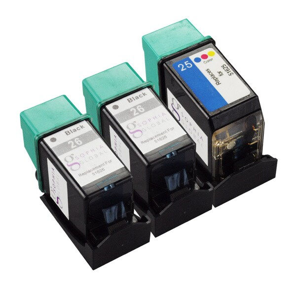 Sophia Global Remanufactured HP 26 and HP 25 Black/ Color Ink Cartridge (Set of 3)