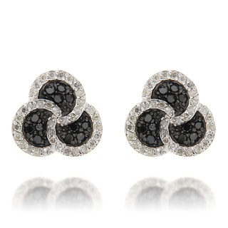 D'sire Sterling Silver 1 1/10ct TDW Black and White Celtic Diamond Earrings (SI1-SI2)