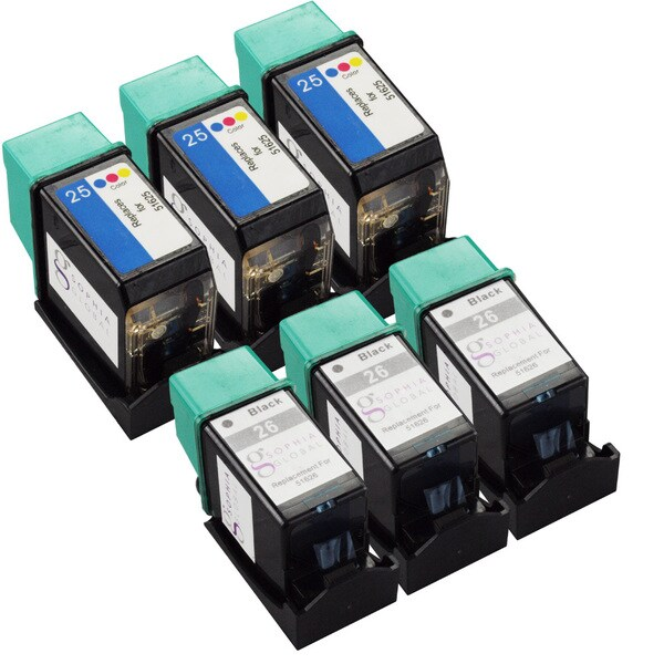 Sophia Global Remanufactured Black/ Color HP 26 and HP 25 Ink Cartridge Replacements (Set of 6)