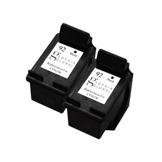 Sophia Global Remanufactured HP 92 Black Ink Cartridge Replacement (Set of 2)