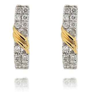 D'sire Two-tone Sterling Silver 1 1/3ct TDW Diamond Hoop Earrings (I, I1)