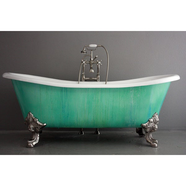'The Cathryn Adele' 73-inch Cast Iron Double Slipper Bateau Bathtub