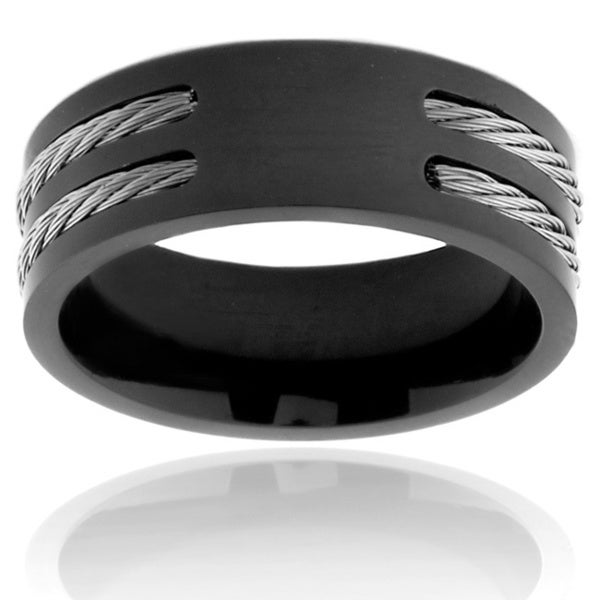 Men's Black Plated Titanium Double Wire Cable Inlay Ring (8 mm)