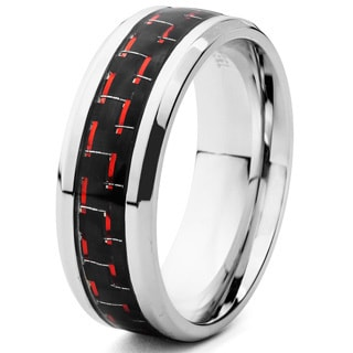 Stainless Steel Men's Black and Red Carbon Fiber Inlay Beveled Edge Ring