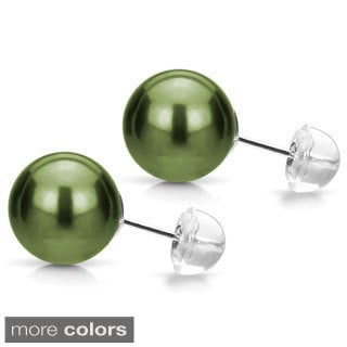 DaVonna 14k Gold Perfect Round AAA Tahitian Pearl Stud Earring (9-10 mm)