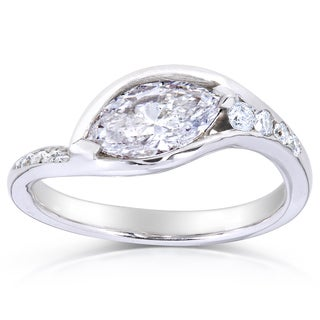 Annello 14k White Gold Certified 1 1/5ct TDW Marquise Diamond Ring (E-F, I1)
