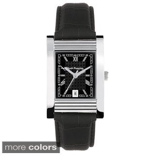 Hush Puppies Men's Rectangular Leather Date Watch