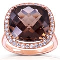 Annello 14k Rose Gold Smoky Quartz and 1/4ct TDW Diamond Halo Ring (G-H, I1-I2)