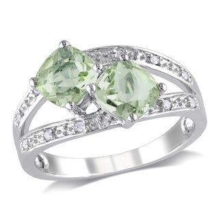 Miadora Sterling Silver 1 4/5 Green Amethyst and Diamond Accent Ring