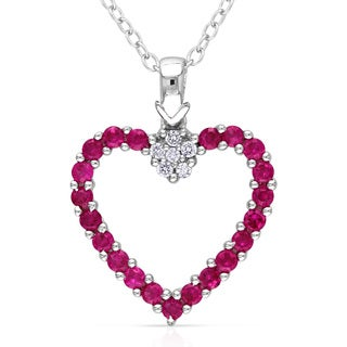 Miadora Sterling Silver Created Ruby and Diamond Accent Heart Necklace