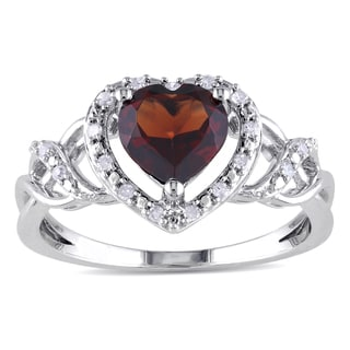 Miadora Sterling Silver Garnet and 1/10ct TDW Diamond Heart Ring (H-I, I2-I3)