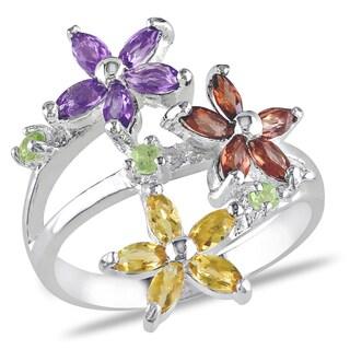 Miadora Sterling Silver 1 1/2ct TGW Multi-gemstone Flower Ring