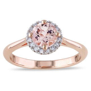 Miadora Rose Goldplated Silver Morganite and 1/10ct TDW Diamond Ring (I-J, I3)