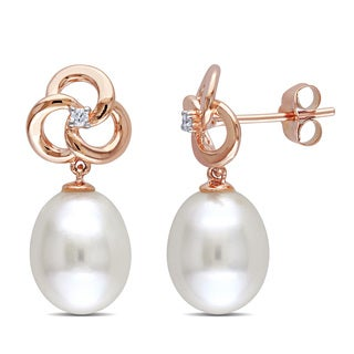 Miadora 10k Rose Gold Cultured Pearl and Diamond Accent Earrings (9-9.5 mm)