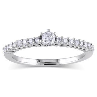 Miadora 10k White Gold 1/4ct TDW Round Diamond Solitaire Ring (H-I, I2-I3)
