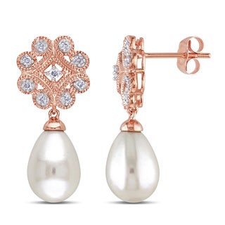 Miadora 10k Rose Gold Cultured Freshwater Pearl and 1/5ct TDW Diamond Earrings (H-I, I2-I3) (8-8.5 mm)