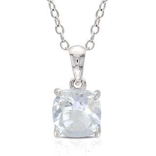 M by Miadora Sterling Silver White Topaz Solitaire Necklace
