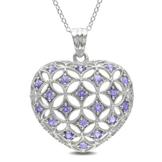Miadora Sterling Silver 1ct TGW Tanzanite Heart Necklace