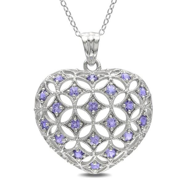 Miadora Sterling Silver 1ct TGW Tanzanite Heart Necklace