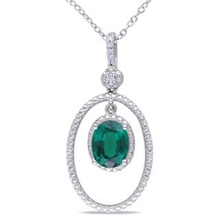 Miadora Sterling Silver Created Emerald and White Diamond Accent Necklace