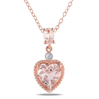 Miadora Rose Goldplated Silver Morganite and Diamond Accent Heart Necklace