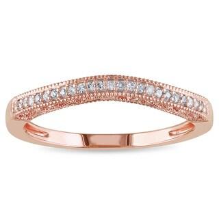 Miadora 14k Rose Gold Diamond Contour Curved Anniversary Ring