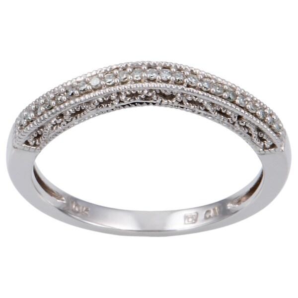 Miadora 10k White Gold Diamond Curved Wedding Band