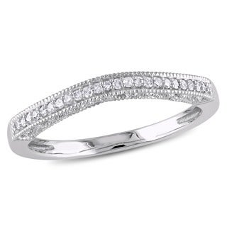 Miadora 10k White Gold Diamond Contour Wedding Band