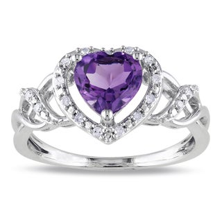 Miadora Sterling Silver Amethyst and 1/10ct TDW Diamond Heart Ring (H-I, I2-I3)
