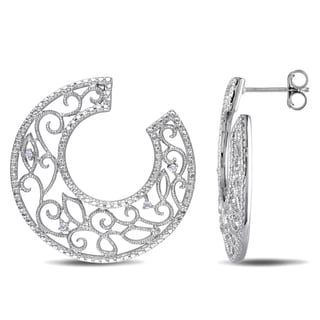 M by Miadora Sterling Silver Diamond Accent Hoop Earrings