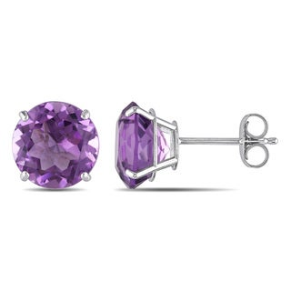 Miadora 14k White Gold 3ct TGW Amethyst Solitaire Earrings