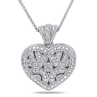 M by Miadora Sterling Silver Diamond Accent Heart Locket Necklace
